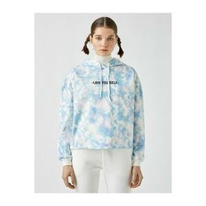 Koton Women's Blue Hooded Tie Dye Patterned Sweatshirt