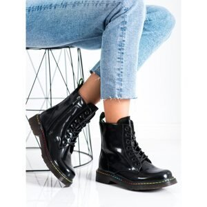 WEIDE BLACK LACE-UP ANKLE BOOTS