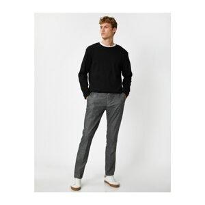 Koton Men's Gray Patterned Trousers