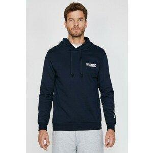 Koton Men's Navy Blue Printed Sweatshirt