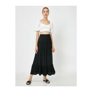 Koton Women's Black Pleated Long Skirt