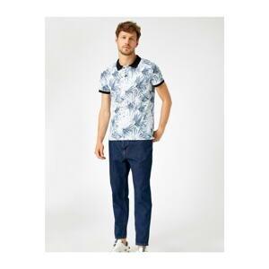 Koton Men's White Polo Neck Tshirt Printed Cotton