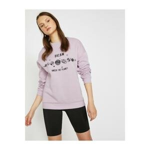 Koton Women's Purple Crew Neck Long Sleeve Letter Printed Sweatshirt