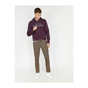 Koton Men's Brown Waist Tie Trousers