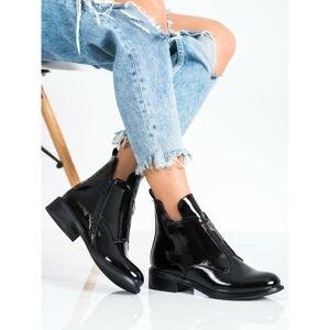 FILIPPO STYLISH LACQUERED ANKLE BOOTS