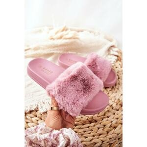 Rubber Moulded Slippers With Eco Fur Dark Pink Emmie