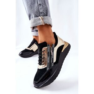 Leather Sport Shoes Sneakers Black and Gold Minor