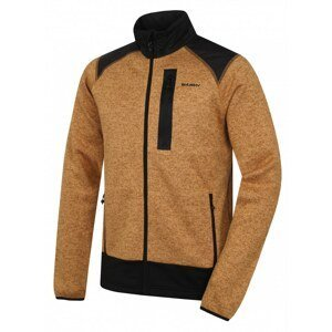 Men's fleece sweater with zipper Alan M mustard / black