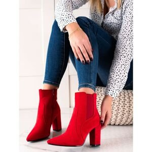 MARQUIZ RED STYLISH ANKLE BOOTS ON THE POST