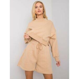 Camel cotton shorts