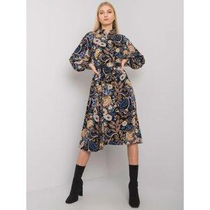 Black patterned midi dress