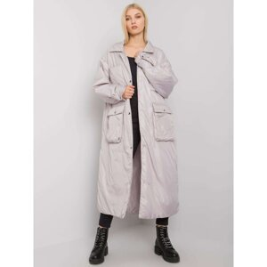 Gray long women's quilted jacket