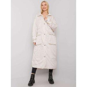 Light beige long women's quilted jacket