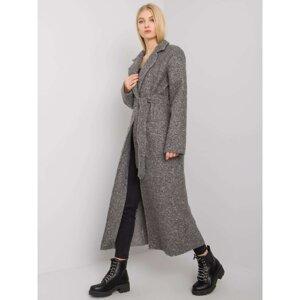 OCH BELLA Gray ladies' coat with a tie