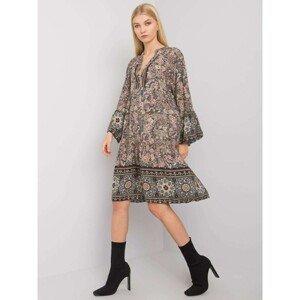 OH BELLA Khaki dress with a frill