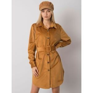 Camel dress with buttons