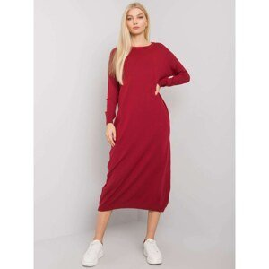 OCH BELLA Burgundy knitted dress with long sleeves