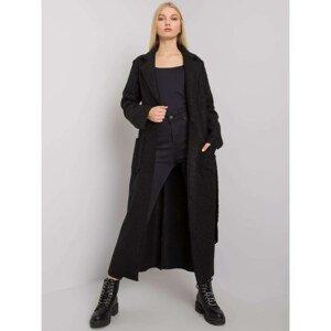 OCH BELLA Black ladies' coat with a tie