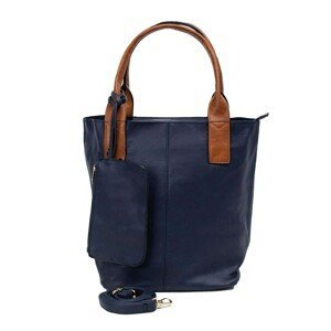 A navy blue city bag with a detachable pouch