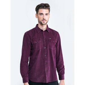 Big Star Man's Shirt Shirt 141801 Burgundy Sztruks-604