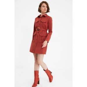 Trendyol Tile Petite Belted Shirt Dress