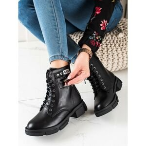 GOODIN BLACK LACE-UP WORKERS WITH ORNAMENT