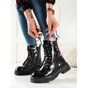 GOODIN LACQUERED LACE-UP ANKLE BOOTS