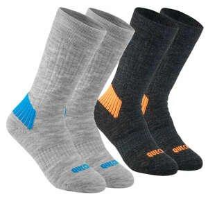 QUECHUA Ponožky Sh100 čierno-sivé