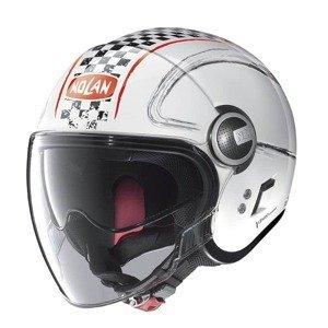 Moto prilba Nolan N21 Visor Getaway Farba Metal White-Red, Veľkosť S (55-56)
