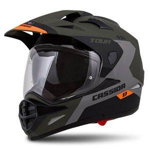 Moto prilba Cassida Tour 1.1 Spectre Farba zelená army matná/šedá/oranžová/čierna, Veľkosť M (57-58)