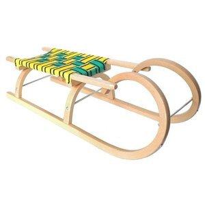 Sáně DI SULOV dřevěné Rohačky 95 CM - Zeleno-žlutá