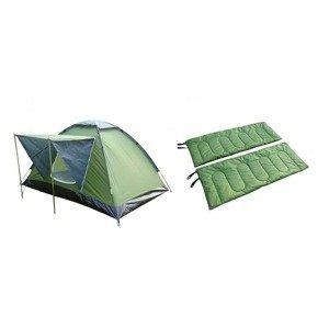 Stanový set, stan pro 2 osoby + 2x spací pytel- VÁHA 4,5kg