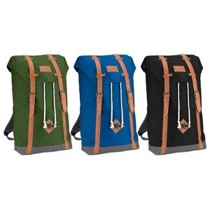 Plátěný batoh ABBEY s koženými popruhy Khaki