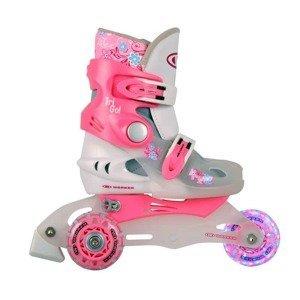 Detské kolieskové korčule WORKER TriGo Skate LED - so sv. kolieskami Farba ružová, Veľkosť XS (26-29)