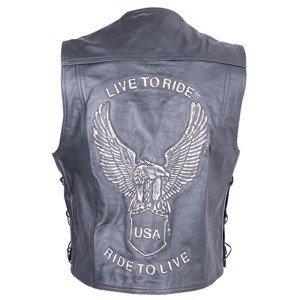 Kožená moto vesta Sodager Live To Ride Vest Farba čierna, Veľkosť 5XL