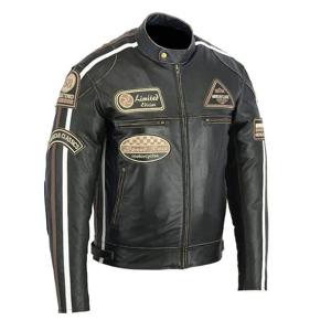 Kožená moto bunda BOS 2058 Antique black Farba čierna, Veľkosť 5XL