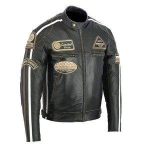 Kožená moto bunda BOS 2058 Antique black Farba čierna, Veľkosť S