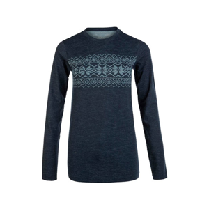 Endurance Yali Seamless Wool Print Ls Baselayer Tmavo Modré
