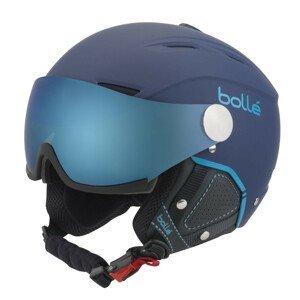 Lyžiarska prilba BOLLÉ Backline Visor Premium Soft Navy & Cyan Grey Blue Tmavomodrá 59-61 cm