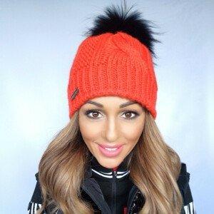 Zimná čiapka SPORTALM Baden SD s brmbolcom z pravej kožušiny Oranžová