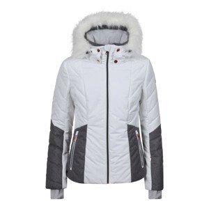 Bunda LUHTA Bengta White/Grey s pravou kožušinou Bielo-sivá XL