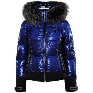 Bunda SPORTALM Cooris Metallic s kapucňou z pravej kožušiny Modrá 3XL