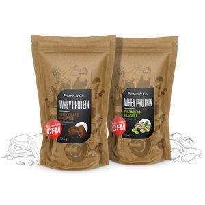 Protein&Co. CFM WHEY PROTEIN 80 1 kg + 1 kg AKCIA ZVOĽ PRÍCHUŤ 2: biscuit cookies, ZVOĽ PRÍCHUŤ 1: Salted caramel