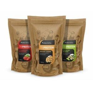 Protein&Co. TRIPROTEIN akcia 2 + 1 zdarma Príchuť 3: Pistachio dessert, Príchuť 1: Chocolate brownie, Príchuť 2: Strawberry milkshake
