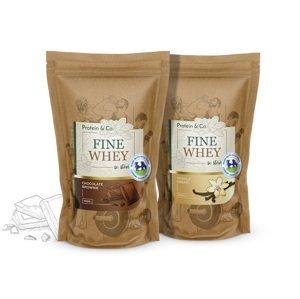 Protein&Co. FINE WHEY – prírodný proteín sladený stéviou 1+1 ZVOĽ PRÍCHUŤ 2: Pistachio dessert, ZVOĽ PRÍCHUŤ 1: Vanilla dream