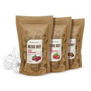 Protein&Co. NATURAL WHEY prémiový proteín bez chémie 2 kg Príchuť 1: Dried strawberries, Príchuť 2: Pure raspberry