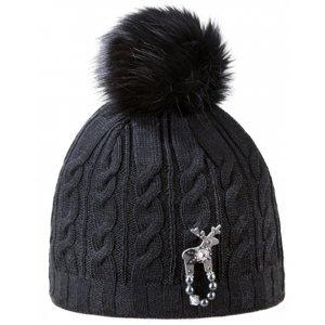 Kama ČAPKA EPICE S S BROŽOU JELEŇA STUBEN čierna UNI - Dámska zimná čiapka s jeleňou brožou Deers