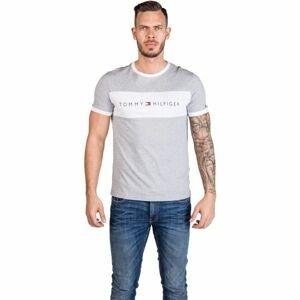 Tommy Hilfiger CN SS TEE LOGO FLAG šedá L - Pánske tričko