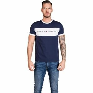 Tommy Hilfiger CN SS TEE LOGO FLAG tmavo modrá L - Pánske tričko