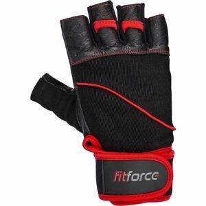 Fitforce FERAL čierna 2xl - Kožené fitness rukavice
